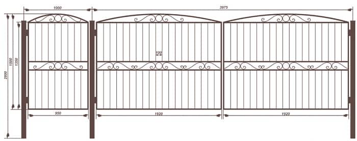 Сварить распашные ворота своими руками схема 6