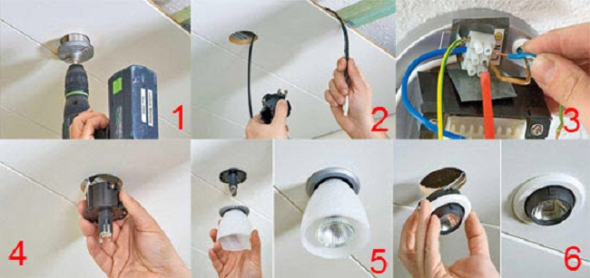 Как установить точечный светильник в натяжной потолок своими руками 96