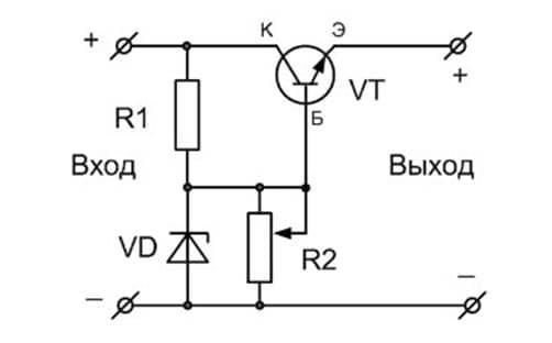 схема стабилизатора напряжения на стабилизаторе 7812