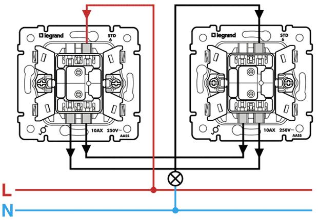 Схема включения освещения с двумя выключателями6