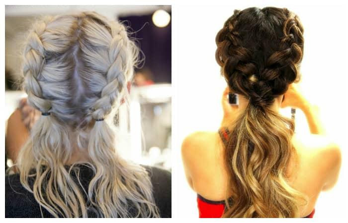 прически с двумя на длинные волосы
