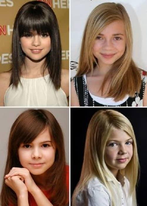Фото стрижек для подростков с челкой на средние волосы