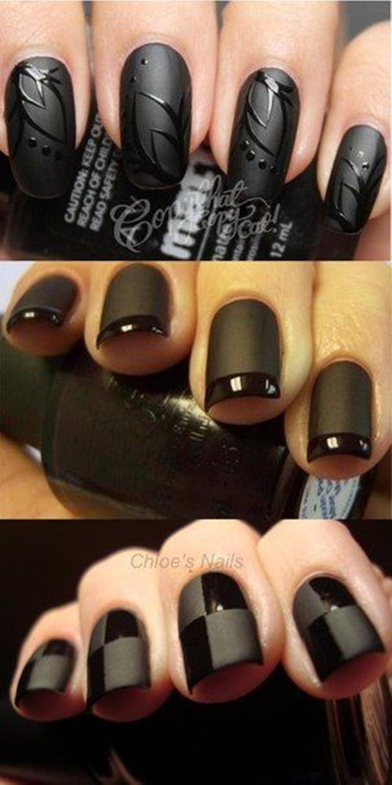 Ногти фото гель лака с черным лаком