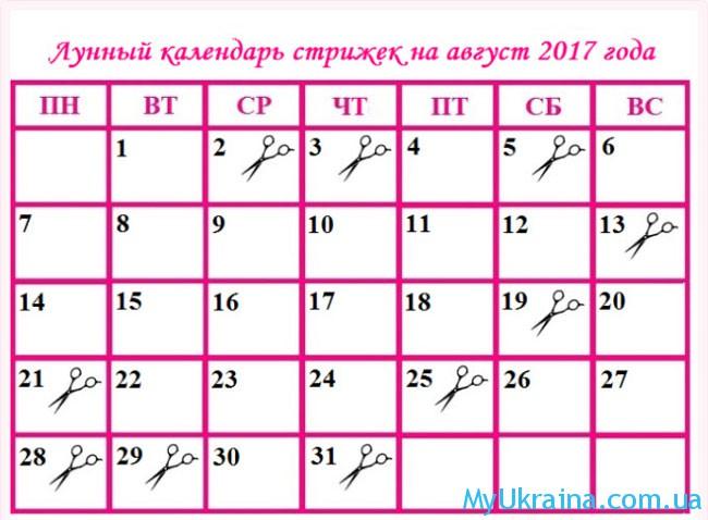 Календарь стрижки в августе 2017