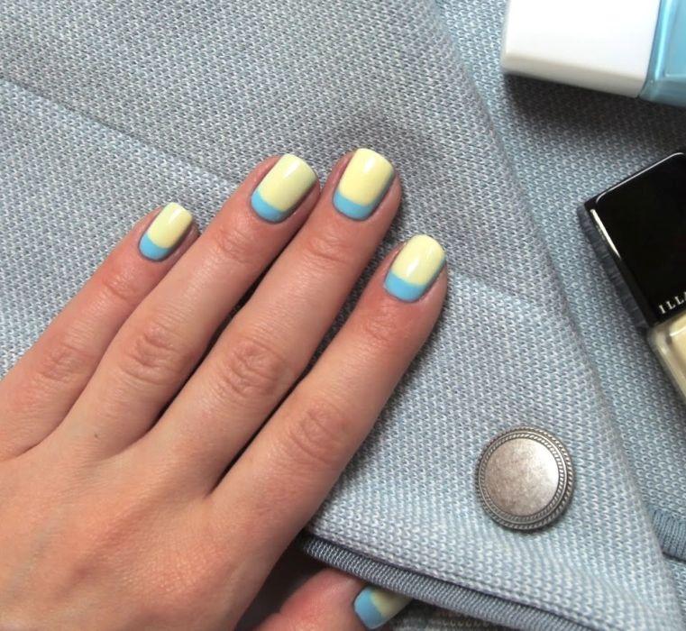 Голубой и желтый в маникюре
